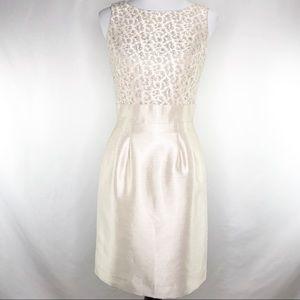 Tahari Ivory Silver Lace Bodice Sheath Dress 4